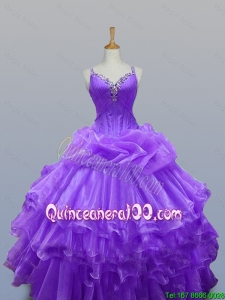 New Arrival 2015 Summer Straps Quinceanera Dresses with Beading and Ruffled Layers