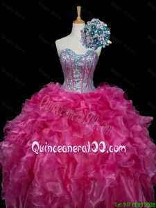 Perfect 2016 Fall Sweetheart Hot Pink Quinceanera Dresses with Sequins and Ruffles