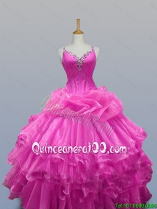 Perfect Straps Quinceanera Dresses with Beading and Ruffled Layers for 2015
