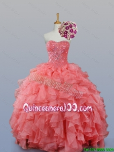Pretty 2016 Summer Beading and Ruffles Sweetheart Quinceanera Dresses