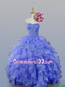 Pretty 2016 Summer Sweetheart Beaded Quinceanera Dresses with Ruffles