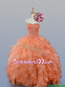Pretty Sweetheart Beaded Quinceanera Gowns in Organza for 2015