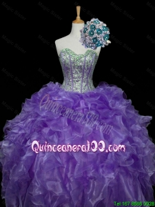 Pretty Sweetheart Purple Quinceanera Dresses with Sequins and Ruffles for 2015