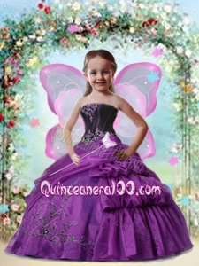 2014 Beatiful Eggplant Purple Little Girl Pageant Dress with Appliques and Pick-ups