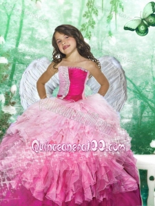 2014 Inexpensive Strapless Pink Beading and Ruffles Little Girl Pageant Dress