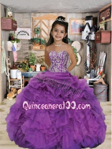 2014 Luxirious Sweetheart Appliques and Ruffles Purple Little Girl Pageant Dress