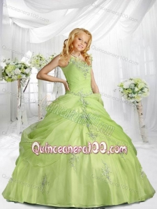 Beautiful Straps Appliques and Pick-ups Little Girl Pageant Dress