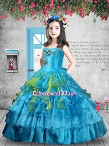 Luxurious Appliques and Ruffles Baby Blue Little Girl Pageant Dress