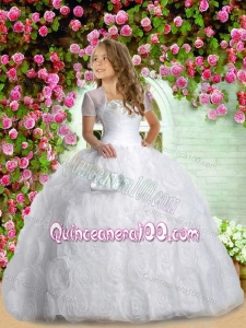 Most Popular Sweethear White Little Girl Pageant Dress with Appliques and Rolling Flowers