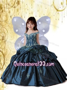 Navy Blue Off The Shoulder Appliques and Pick-ups Little Girl Pageant Dress