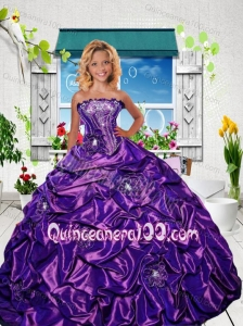 New Style Strapless Purple Little Girl Pageant Dress with Appliques and Pick-ups