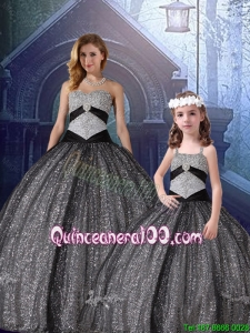 Classical Ball Gown Sweetheart Appliques Princesita Quinceanera Dresses in Black