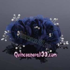 Beautiful Rhinestone Pearl Chiffon White Hair Flowers