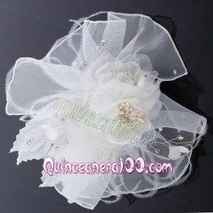 Elegant Feather Red Imitation Pearls Fascinators for Wedding