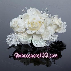 2014 Cute Lace Rhinestone Pearl White Fascinators