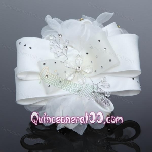 Exculsive White Lilac Satin Hair Flower with Beading