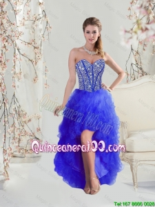 2016 Cheap Beaded and Ruffles High Low Dama Dresses in Royal Blue