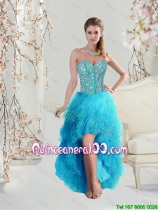 2016 Beautiful Cheap Sweetheart Beaded and Ruffles Turquoise Dama Dresses High Low