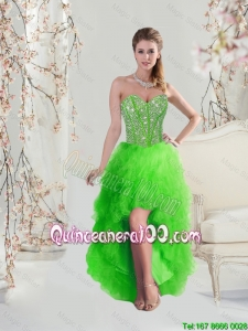 2016 Inexpensive High Low Sweetheart Spring Green Dama Dresses with Beading