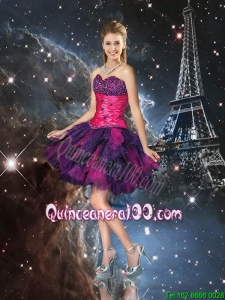 2016 Sexy Short Multi Color Dama Dresses with Beading for Cocktail