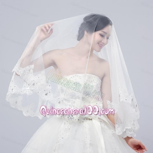 2014 Two-Tier Tulle Lace Appliques Edge Bridal Veils