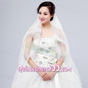 Elegant One-Tier Lace Edge Elbow Veils for Wedding Party