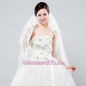 Elegant One-Tier Oval Elbow Veils with Lace Edge