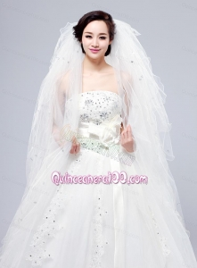 Elegant White Angle Cut Multi-Tier Finished Edge Bridal Veils