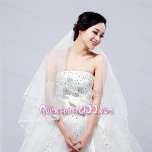 Fairy Two-Tier with Lace Angle Cut Edg Wedding Veils