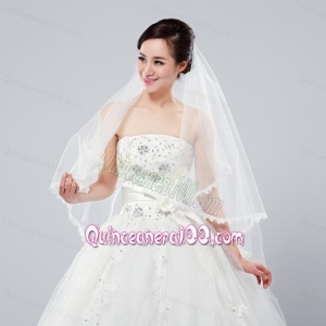 Graceful One-Tier Lace Edge Elbow Veils for Wedding Party