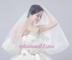 Two-Tier Lace Edge Wedding Veils with Angle Cut