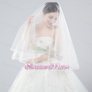 Two-Tier Tulle Bridal Veils with Ribbon Edge