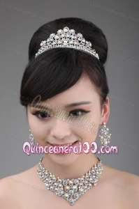 Alloy And Clear Colorful Rhinestone Jewelry Set With Crown Necklace And Earrings
