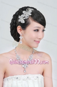 Gorgeous Alloy With Rhinestone Ladies Necklace and Headpiece