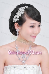 Intensive Flower Jewelry Set Including Necklace And Headpiece
