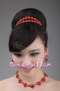 Red Rhinestone Wedding Jewelry Set Including Necklace Crown And Earrings