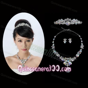Multi Color Crystal Round Shaped Jewelry Set Including Necklace Tiara