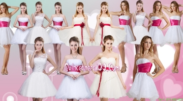 Discount Organza White Short Bridesmaid Dresses with Belt