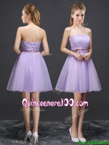 2017 Pretty Strapless Organza Laced Short Dama Dress in Lavender