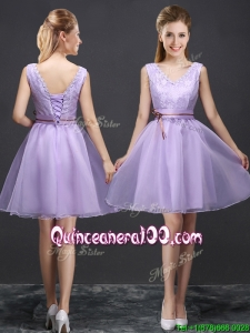 Classical V Neck Lavender Short Dama Dress with Belt and Lace