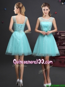 Simple Applique Decorated Scoop Dama Dress with Beading