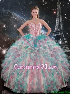 2015 Fall New Style Sweetheart Beaded and Ruffles Quinceanera Gowns in Multi Color
