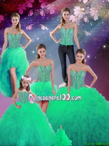 2015 Spring Pretty Sweetheart Beaded and Ruffles Detachable Sweet 16 Dresses in Turquoise