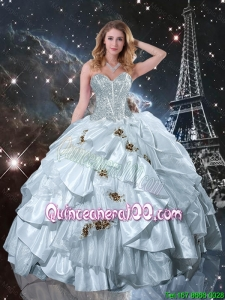 2015 Winter Perfect Sweetheart Appliques Quinceanera Dresses in White