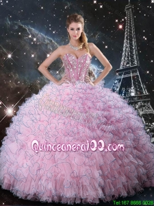 Cheap 2015 Fall Pink Sweetheart Sweet 15 Dresses with Beading and Ruffles