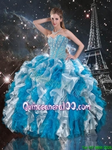 Luxurious 2015 Summer Beaded White and Blue Sweet 16 Gowns with Ruffles