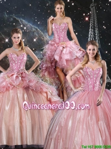 2016 Fall Beautiful Ball Gown Beaded Tulle Detachable Sweet 16 Dresses with Belt