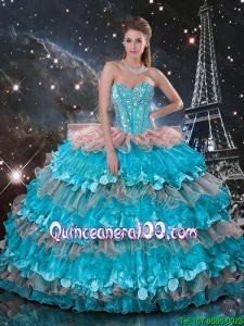 2016 Fall New Style Sweetheart Quinceanera Dresses with Beading and Ruffled Layers