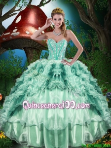 2016 Fall New Style Sweetheart Quinceanera Dresses with Beading and Ruffles