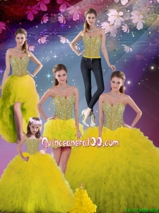2016 Fall New Style and Detachable Sweetheart Yellow Quinceanera Dresses with Beading and Ruffles
